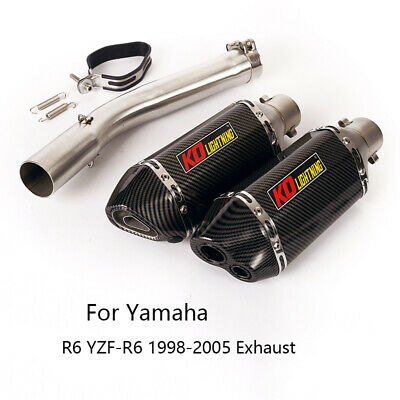 $114.99 • Buy Exhaust Set For Yamaha R6 YZF-R6 1998-2005 Motorcycle 51mm Muffler Pipe Slip On
