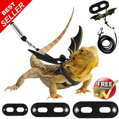£9.75 • Buy Adjustable Bearded Dragon Harness And Leash Lead, 3 Size Leather Reptile Lizard