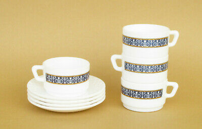 £35.40 • Buy Vintage French Arcopal Set Of 4 Glass Coffee Cups With Saucers. Tableware