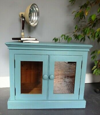 £50 • Buy Lovely Wood Wooden Painted Glass Doors TV Cabinet Cupboard Sideboard