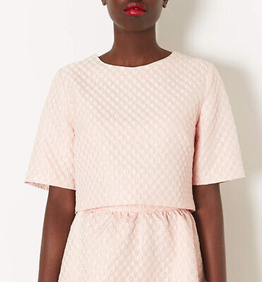 £7 • Buy Topshop Pale Pink Textured Bubble Crepe Quilted Crop Top Tee Size 8 Celeb Style