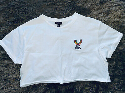 £6.99 • Buy Topshop Ladies Top T-shirt Cropped Top Size 14 Rainbow Boxy Tee