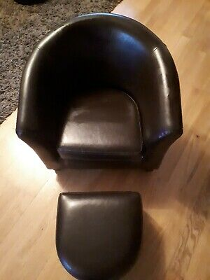 £25 • Buy Faux Leather Brown Chair & Footstool.For Young Child.Both Items Great Condition.