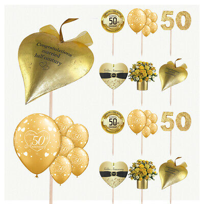 £4.99 • Buy Golden 50th Wedding Anniversary Cake & Food Party Decorations Picks Toppers 14PK