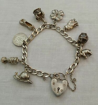 Vintage Silver 925 Sterling Bracelet With 9 Charms • 45£