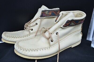 £25.65 • Buy Vtg White Leather ?Chukka Style Boots-Bought Mid Century In Mexico-Size 10-3 Eye