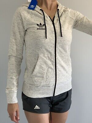 AU59 • Buy Womens Adidas Jacket, Size 6-8. XS . Cream Marle. Zip Front With Hoody