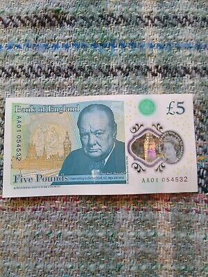 AA 01 Low Number Circulated £5.00 Five Pound Note No: AA01 054532 • 7.05£
