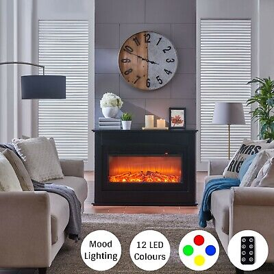 Black LED Electric Fireplace Log Burning Flame Effect Standing Fan Heater 1.5KW • 199.99£