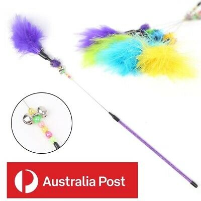 AU5.79 • Buy Cat Toy Play Feather Teaser Wand Toy Interactive Stick Kitten Pet Fun Wire Bell