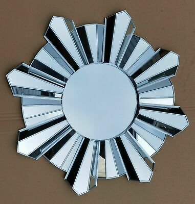 £29.99 • Buy Contemporary 65cm Hanging Mirror Sunburst Home Decor Round Wall Mounted Silver