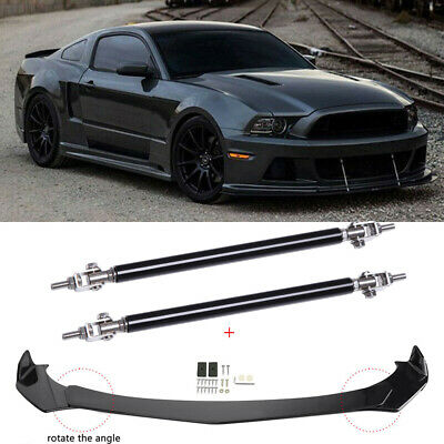 $89.50 • Buy For Ford Mustang 2000-2021 Front Bumper Lip Splitter Spoiler + Strut Rods Set JQ