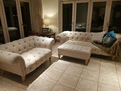 Sofa 2 Piece Suite Used, 3 Seater, 2 Seater And Footstool. • 204£