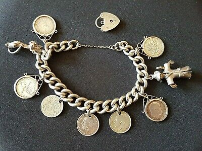 Vintage Sterling Silver Charm Bracelet With Antique Silver Three Pence Coins 61g • 49£