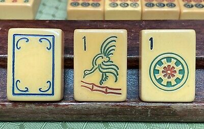 """$450 • Buy 152 Piece MAH JONG Bakelite """"Chicken"""" Set With 4 Racks And Case Ready For Play"""