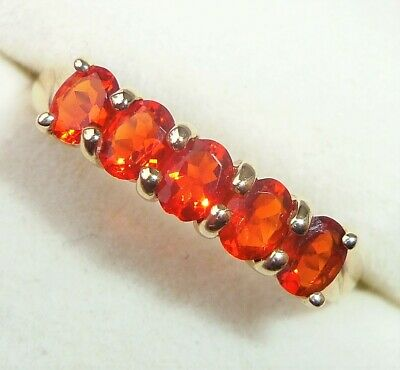 £149.99 • Buy 9ct Gold Mexican Fire Opal Five Stone Eternity Ring, Size P