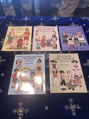 AU20.96 • Buy Lot Of 5 Vintage Dover Uncut Paper By Kathy Allert North American Girl & Boy New
