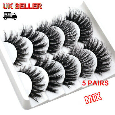 5Pair 3D Long Eyelashes Natural Fluffy Wispy Thick Soft Mink False Eye Lashes UK • 3.99£