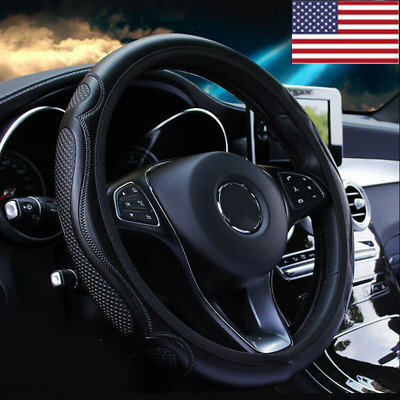 $7.98 • Buy Black Leather Car Steering Wheel Cover Breathable Anti-slip Car Accessories US