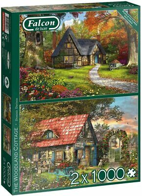 £12.99 • Buy NEW! Falcon Deluxe The Woodland Cottage Jigsaw Puzzle (2 X 1000 Pieces)