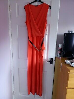 River Island Dress, 16 Coral Split Leg  Waterfall Front And Belted Waist.  • 10£