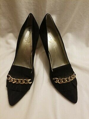 $ CDN56.24 • Buy Ivanka Trump Black Suede Kitten Heel Shoes With Gold Medal Chain Detail Size 7.5