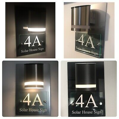 £27.95 • Buy Modern House Sign Plaque Door Number Street Glass Acrylic House Name Solar