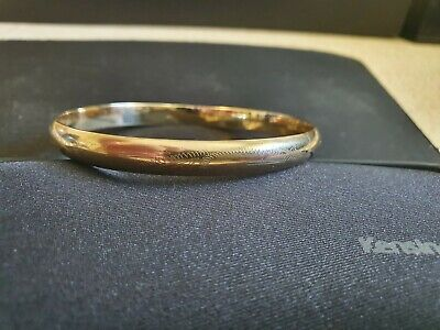 AU320 • Buy 9ct Gold Copper Filled Pattern Flat Bangle 7mm Thick