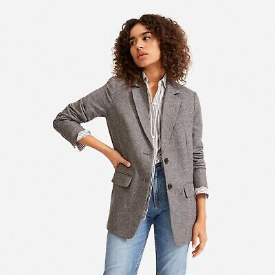 AU155.10 • Buy Everlane Oversized Blazer Herringbone Wool Jacket Pockets Grey Black Size 0
