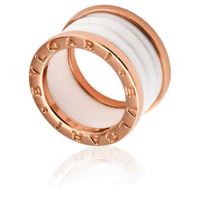 AU1299 • Buy BVLGARI B.Zero1 Ring White Ceramic 18k Rose Gold-Excellent Condition & Authentic