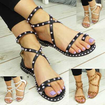 £11.99 • Buy Gladiator Ladies Sandals Womens Flats Toe Post Strappy Summer Comfy Shoes Size