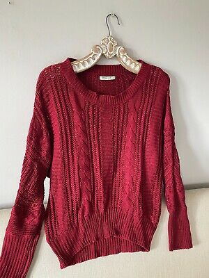 SUITEBLANCO TRICOT (French) Burgundy Silky Feel Slouchy Cable Knit Jumper 16 • 3.99£