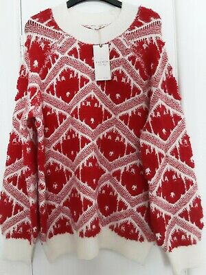 Ladies L 14-16 BNWT FALMERS Red/cream Slouchy Supersoft Knit Jumper • 11.99£