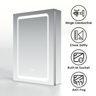 £174.79 • Buy Bathroom Mirror Cabinet With Light LED Illuminated Demister Socket Touch