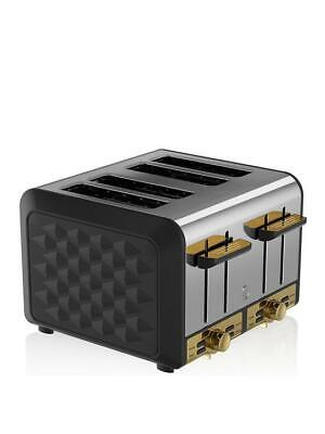 £48 • Buy Swan Gatsby 4 Slice Toaster Black/Gold - Variable Browning Control -New Open Box