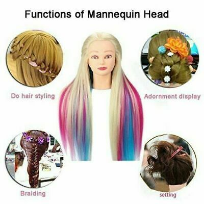 26  Real Human Hair Styling Hairdressing Practise Training Mannequin Head Doll • 17.69£