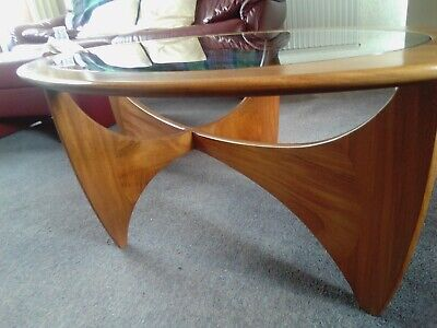 Mid Century G Plan Astro Teak Oval Glass Top Coffee Table 60s As On  MORNING TV! • 125£