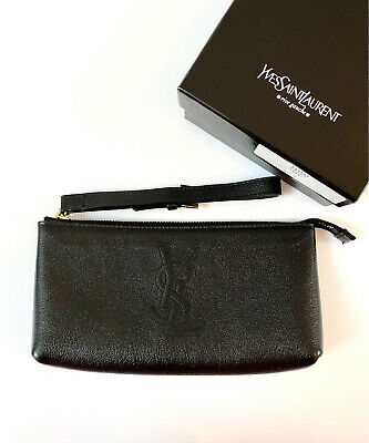 AU350 • Buy Authentic Yves Saint Laurent Black Pouch/ Clutch With YSL On The Front
