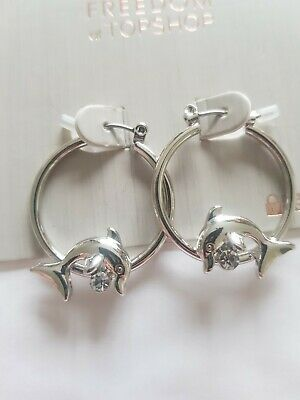 Freedom At Topshop Silver Dolphin Gem Small Hoop Earrings • 7£