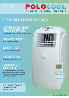 AU240 • Buy Polocool Portable Air Conditioner 5.5kw Refrigerated With Window Kit Pc53