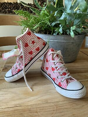 £25 • Buy Converse All Star Hearts & Pink Stripes. Girls Size Uk13