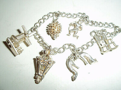 Vintage  Solid Silver Charm Bracelet With 6 Charms • 36.99£