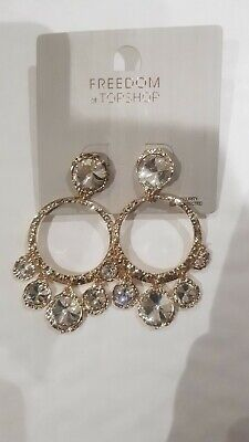 Freedom At Topshop Gold And Silver Gem Hoop Earrings • 10£