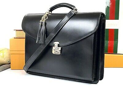 $625 • Buy GUCCI Italy Tom Ford Black Leather Briefcase Attache Document Business Bag