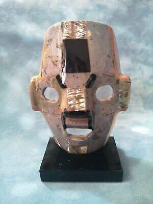 £24.50 • Buy Vintage Mexican Mayan Aztec Mosaic Tribal Mask Sculpture Mother Of Pearl Stones
