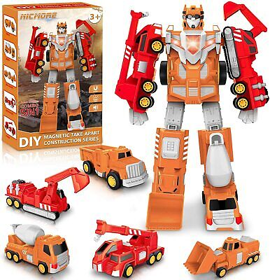 AU44.37 • Buy Toys For 5 Year Old Boys - Construction Toys Transform Into Robot STEM Building