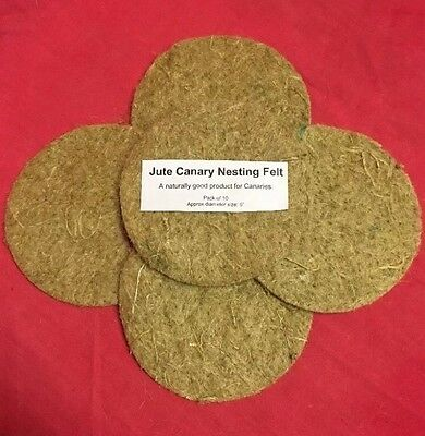 £4.99 • Buy Canary Nesting Pan Jute Felts X 5 Finches Canaries Linnets Breeding 5 Inch Round