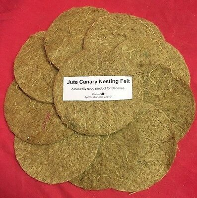 £7.99 • Buy Canary Nesting Pan Jute Felts X 10 Finches Canaries Linnets Breeding 5  Round