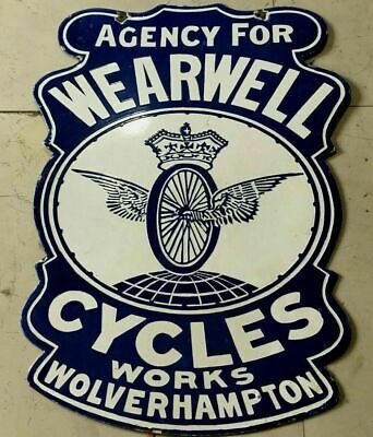 $ CDN312.58 • Buy Porcelain WEARWELL CYCLES Enamel SIGN SIZE 22  X 19.5  INCHES DOUBLE SIDED