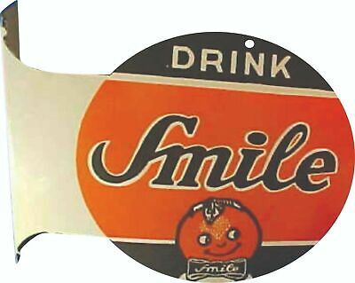 $ CDN187.05 • Buy Porcelain Drink Smile Enamel Sign Size 12  X 10  Inches Double Sided Flange